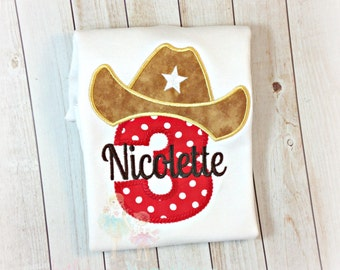 Cowboy birthday shirt - cowgirl birthday shirt - cowgirl/cowboy themed shirt - cowboy hat - cowgirl hat - custom embroidered birthday shirt