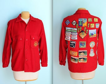 vintage 70s authentic Boy Scouts of America red wool jacket with patches / San Diego County / California / mens size 42 / large