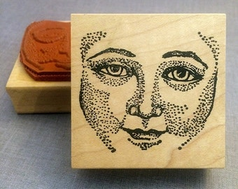 Lady Face Rubber Stamp