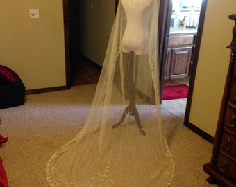 Gorgeous Princess and Tambour Lace Wedding Veil