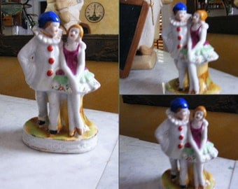 Porcelain Figurine Circus performers clown tightrope walker