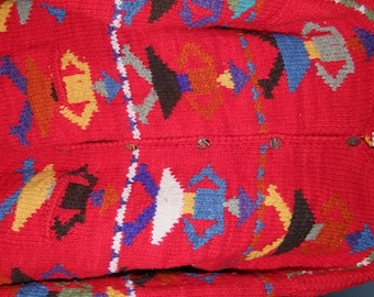 Vintage Hand Knit Red wool Figural  Sweater ala 1990s from Ecuador 0N SALE