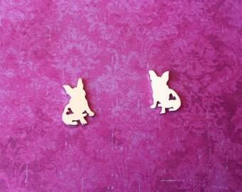 French Bulldog studs Heart French Bulldog Silver Post Earrings Love Bulldog Earlobe Earrings - Sterling Silver (925)