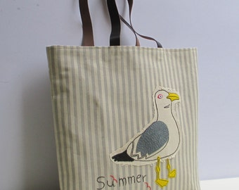 Seagull canvas tote bag ,les mouettes, organic natural color,summer tote, beach tote, all to carry, shopper,unique,chic