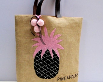 Tropical Pink pineapple, bohemian chic style jute tote bag with leather straps, handmade, hand appliqued perfect beach summer bag