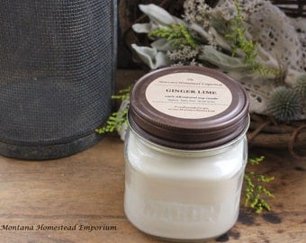 GINGER LIME scented all natural soy candle square MASON jar candles pure soy citrus scents fresh scents uplifting scents use Montana candles
