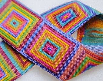 Cubic Multi Color Woven Jacquard Trim 1 inch wide - Two, Five, or Ten Yards