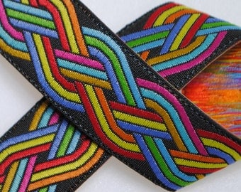Celtic Knot Jacquard Trim 3/4 inches wide - Black and Multi Color - Two, Five, or Ten Yards