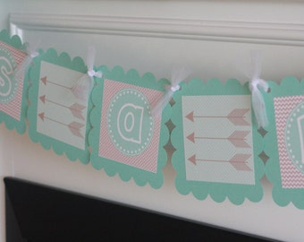"Aqua Blue & Taupe Arrow Boy Baby Shower - ""Its a Boy"" or ""Little Man"" Man Baby Shower Banner - Ask About Party Pack Specials"