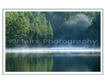 FATHER'S DAY Card, Birthday, All Occasion, Blues Greens Serene Mist Fog Quiet Lake Early Morning, Masculine, Blank Greeting Card, Photo Card