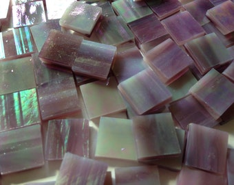 Mosaic Tiles - 100 Small Squares - Iridescent Purple Stained Glass - Hand-Cut
