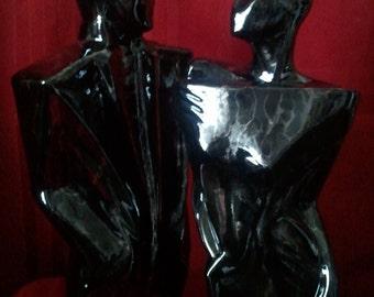 "Modern Art Deco Male & Female Statue-Ceramic-15""T-NEW -Black w/Halo Platinum"