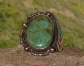 Sterling silver turquoise ladies / womens ring