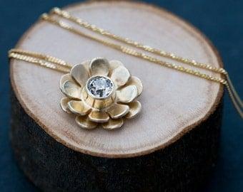 18K Gold Diamond Necklace - Diamond Flower Necklace - Gold Flower Pendant - Bridal Wear 18k Gold Diamond Flower Pendant - FREE SHIPPING