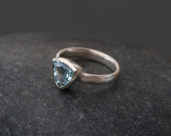 Blue Topaz Ring -Blue Topaz Trillion Ring - Blue Gemstone Engagement Ring - Pale Blue Topaz Ring - Made to Order - FREE SHIPPING