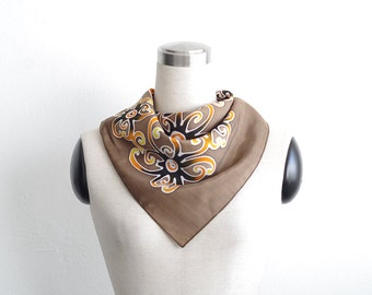 Brown scarf. Earth tones neckerchief with tribal hand painted floral art. Small square scarf for men or women. Neutral colors tribal flowers