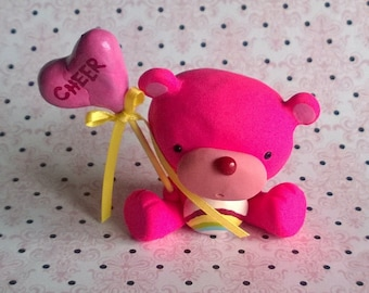 Pink Cheer Care Bear with Heart Balloon Polymer Clay Animal Ooak Gift Figure Figurine Miniature Cute Collectible Rainbow