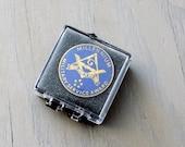 Vintage Freemason Grand Lodge NY Millennium Military Service Award Pinback -  Square and Compass Freemason Symbol