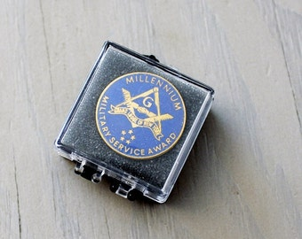 Vintage Freemason Lapel Pin- Brass Enamel Military Service Award - Freemason Grand Lodge NY - Square and Compass Freemason Symbol