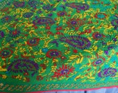 Hippy Trail Vintage 70s Throw Panel Bedcover Mad Psyche Handstitched Crewel Work on Green Semisheer Base Old Gold Sequins