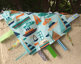 Sailboats Tag Blanket with your choice of Minky // In Stock, READY TO SHIP