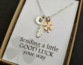 Lucky clover necklace- STERLING SILVER- lucky feather jewelry, shamrock necklace, gift for friends, sending good luck gift, personalized