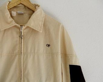 Vintage OP Weather Wear Ocean Pacific Unisex Windbreaker Jacket Cream 1980s