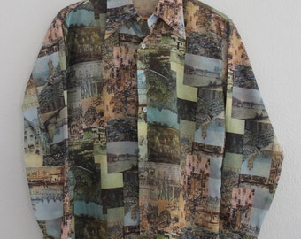 Vintage Mens Topaz Shirt Polyester Disco Art Photo Scene Pattern Medium 1970s Rare
