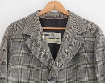 Vintage Mens Overcoat Aquascutum Showerproof Pure Wool Black White Plaid 1960s  Large