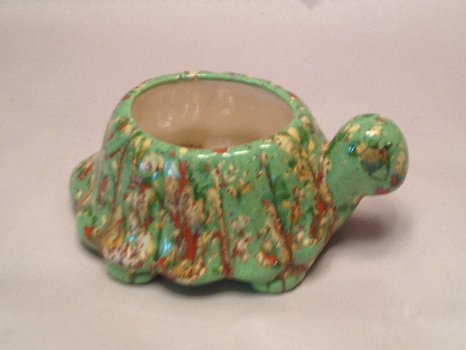 Vintage Handmade Ceramic Turtle Planter From The 70s