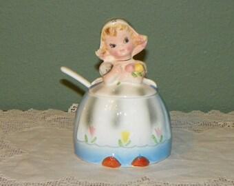 Vintage Lefton Dutch Girl Jam Jelly Jar Condiment Porcelain Dutchgirl Retro Kitchen