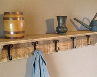 Cedar Shelf Hook Rack, Various Hooks, free shipping