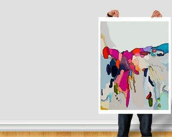Large Original Abstract Painting Pretty Art Pink Grey Gray Purple Vancouver Modern Bright Graphic Decor