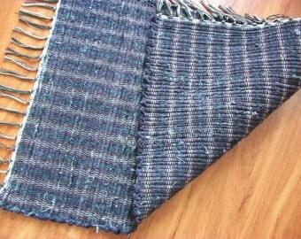 handmade loom woven rag rug purple designer fabric  south dakota made