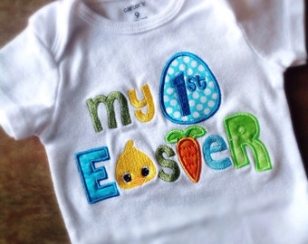 My First Easter Onesie or Tshirt. Holiday Onesie. Boy or Girl Colors available.