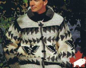 Cowichan Sweater White Buffalo Wool Chinook Thunderbird Design  Cardigan KNITTING PATTERN  Sizes Small to X Large Instant Download on Etsy
