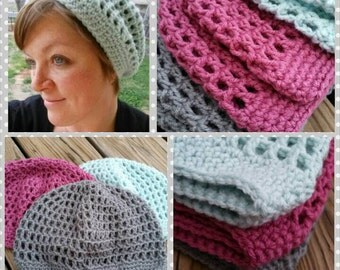 Crochet Slouchy Hat - FREE SHIPPING