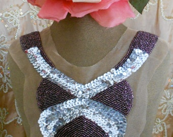 Purple Beaded Silver Sequined Applique