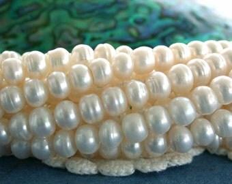 Fresh Water Pearls, Button Shape Fresh Water Pearls,  Hierloom White Pearls, Winter White Pearls, Wedding Supplies  FWP-067