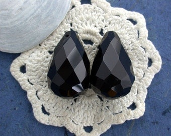 Black Onyx Faceted Pendants, Black Onyx Faceted Beads, Large Black Onyx Beads, Semi Precious Beads, Gemstone Beads SP-033