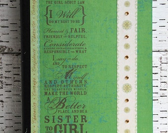 Girl Scouts Journal, Green Notebook, Altered Composition Book, Troop Planner, Gold Award Reports