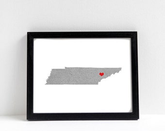 Tennessee Map or ANY STATE Natural Art Print - State Art Print - Home Sweet Home - Nashville Art Print