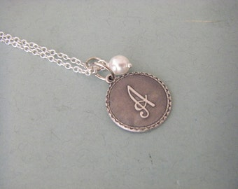 Initial A Letter A Necklace Sterling Silver Chain Silver Initial Wire Wrapped Glass Pearl Gift For Her Personalized
