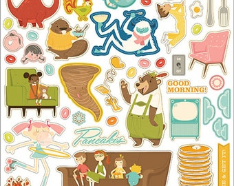 October Afternoon Saturday Mornings 12x12 Shape Stickers -- MSRP 3.00