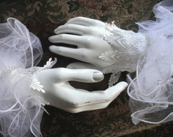 White Lacy Wedding Cuffs, Pair of White Lace Bridal Cuffs, Tulle Wristlets, Lace Wrist Cuffs, White Lace Fingerless Gloves, One of a Kind