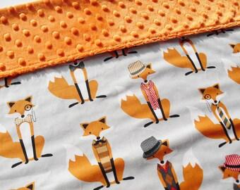 Large Fox Minky Blanket - Baby Boy Blanket Gift Idea - Fox blanket - baby shower gift idea - Baby blanket Personalised - Baby Boy Gift