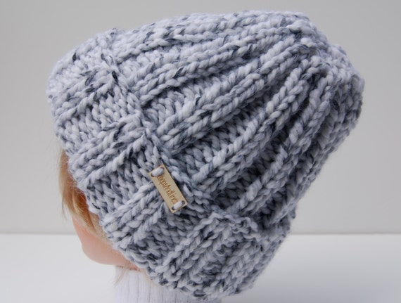 Knitting Pattern For Mens Ribbed Hat : Ribbed knit hat knit gray hat unisex knit hat by LoopsAndLines