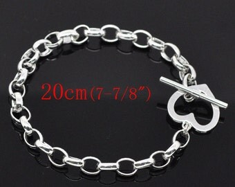 "5 Silver Heart Toggle Bracelets - WHOLESALE - 8""  - 20cm - Ships IMMEDIATELY  from California - CH385a"