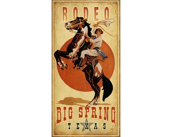 Big Spring Texas Rodeo Cowgirl Poster