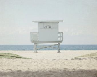 Modern Beach Art, Minimalist Photography, Blue and Tan Decor, Lifeguard Tower Photo, California Picture, Venice Beach House Decor